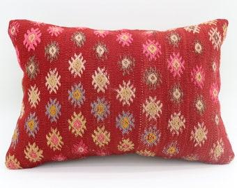 14x20 Red Pillow Geometric Pillow Floral Pillow Embroidered Pillow 14x20 Turkish Decorative Pillow Throw Pillow Bohemian Pillow  SP3550-1914