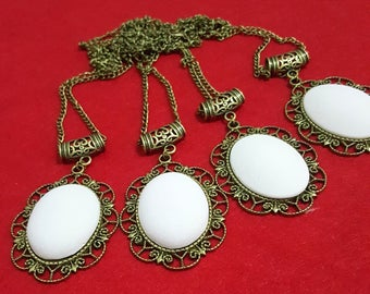 Set of 4 large pendant necklace support cabochon metal bronzed 45x76mm with ceramic Customiser cabochon oval