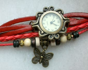 Leather Bracelet Red Tan wood bead and Perle Acrylique Metal Butterfly charm Quartz Watch