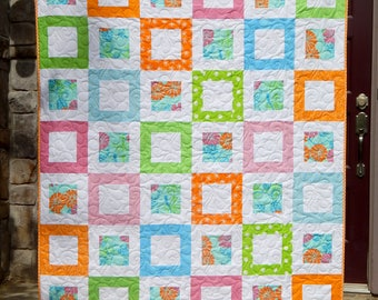 Modern Lap Quilt, Pink Orange Blue and Lime Green Quilt, Handmade Quilt, Ready to Ship