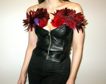 Hand Made Real Leather Corset with Feathers