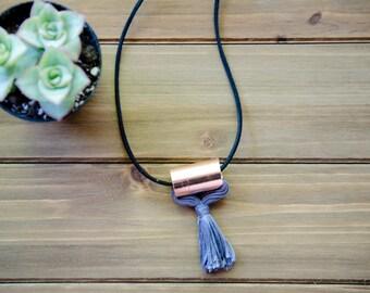 Minimalist Copper Tassel Necklace, Diffuser Necklace, Grey Tassel, Fashion Jewelry, Statement Necklace, Jewelry under 30, Tassel Jewelry