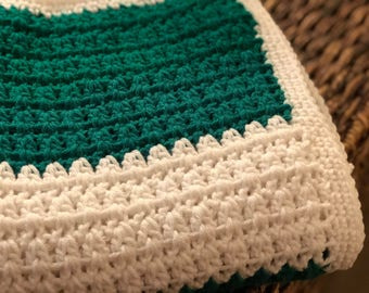 Baby throw, afghan, crochet blanket, crochet throw, crochet afghan, toddler blanket, green blanket, green and white throw, baby blanket
