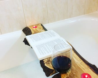 Bespoke bath caddy, handmade bath shelf, relaxing wine gift, made to measure wooden bath caddy wine caddy wine holder. Handmade in Devon