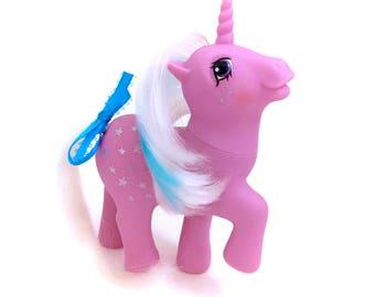 G1 My Little Pony Milky Way Original G1 1986 Vintage MLP Twice As Fancy TAF Unicorn Ponies Pink Stars Glitter Milkyway EUC 80s Hasbro