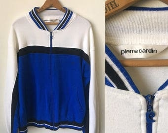 Vintage Pierre Cardin Blue and White Track Jacket 1980's 80's Pierre Cardin Sportswear Track Jacket