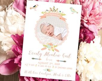 Baby Birth Announcement Card | Newborn Card | Printable Card | Baby Girl Birth Announcement | 5x7 | Digital Baby Card | Custom Birth Card