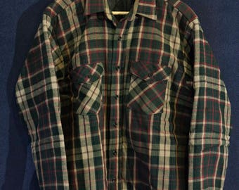Vintage Five Brother Quilt Lined Flannel Overshirt Made in USA XL