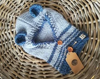 Teddy Bear Hood ready to ship! In alpaca and wool, warm and soft knitted in ice and blue stripes, size 9-12 months