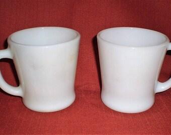 Fire King White Milk Glass Coffee Mugs-1950's