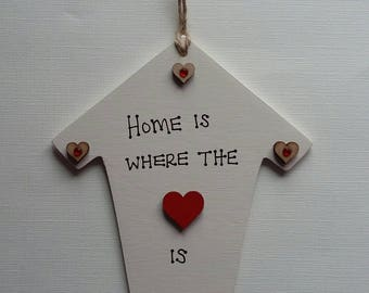 Handmade 'Home is where the heart is' house plaque