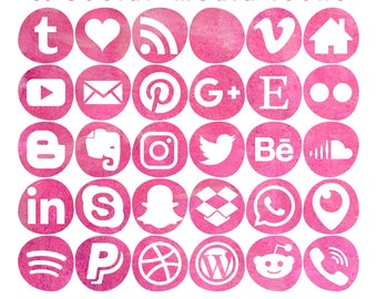 30 Social Media Icons - Crimson Watercolour - Smooth Bleb shape - 3 sizes - PNG files