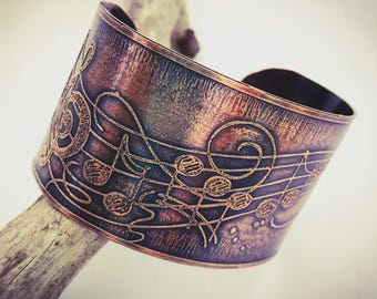 Music Lover Etched Copper Cuff Bracelet Handmade