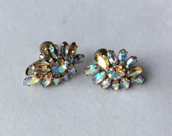 Quality Signed Sherman Irridescent Rhinestone Earrings