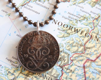 Sweden 1944/1945 vintage coin necklace - original - birth year - wedding present - 73th - 72th birthday - gift