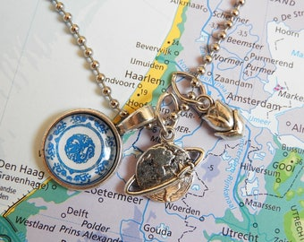 Delfts blauw mandala ketting  5 keuzes  Made in  Holland collectie