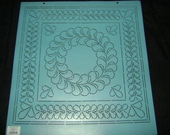 Sashiko Japanese Embroidery/Traditional Quilting Stencil 16.5 in. Continuous Quilting Fancy Feather Motif Block/Quilting