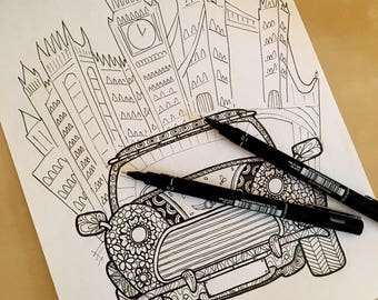 Mini Cooper  Colouring Page  Personalised licence plate. Digital download.