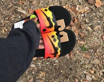 Custom Sunset Nike Slides