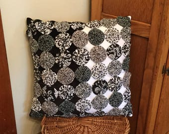Metro Chic Accent Pillow, Black and White Fabric Yo Yo Pillow,  Suffolk Puff,  YoYo, Velour  throw pillow