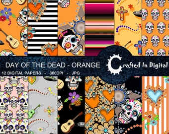 Day Of The Dead Orange - Digital Paper Collection 12x12