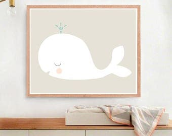 Nursery Wall Art Print, Kids Art Print, Animal Nursery Print, Modern Nursery Decor, Whale poster, Kids room, Digital
