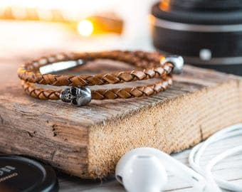 Double wrap Antiqued brown genuine leather braided cord bracelet with steel skulls, mens bracelet, leather bracelet, cord skull bracelet