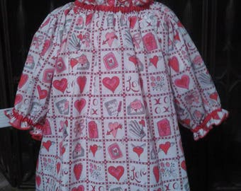 Girls and Toddlers Valentine's Day Peasant Blouse