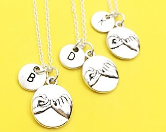 Set of 3 - 925 Sterling Silver chain, personalized Best friend necklace-set of 3,filigree necklaces,filigree charms,friendship,3 friends,