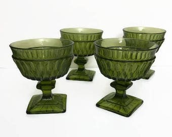 Green Glass Goblet Set of 4 Indiana Glass Olive Green Mt. Vernon Pattern Square Footed