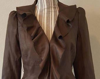 ON SALE Vintage Brown Ruffle Jacket