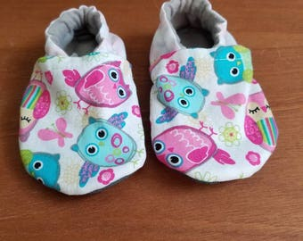 Soft Sole Shoes with Toughtek Soles, Owls & Pink Clouds 12-18 Months: 5 Inches