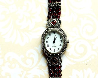 Vintage Avon Garnet and Marcasite Silver Watch