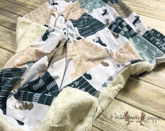 Deer Baby Blanket- Minky Blanket- Lumberjack- Baby Boy Blanket- Woodland Nursery- Deer Blanket- Rustic Baby Bedding- Deer Minky Blanket