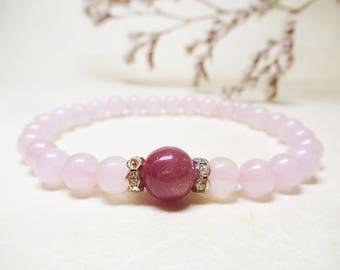 Ruby Bracelet Rose Quartz Bracelet Calming Bracelet Healing Bracelet Heart Chakra Bracelet Spiritual Bracelet Love Bracelet Christmas gift