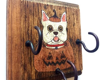 Hand Painted Primitive Halloween Leash Holder / Key Hanger. A fun and functional gift for dog lovers!