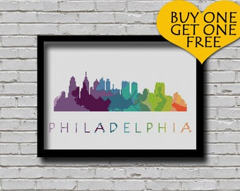 Cross Stitch Pattern Philadelphia Pennsylvania Silhouette Watercolor Effect Decor Embroidery Modern Ornament Usa City Skyline Xstitch