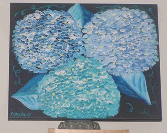 """Blue hydrangea"" painting on canvas (33x41cm) frame"