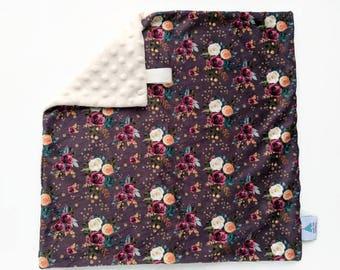 Mini blanket - Plum floral Lovey - Baby Lovey - Security Blanket - Minky Lovey - Snuggle Blanket - Baby Shower Gift - Boho Nursery