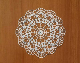 "New 6.3"" white handmade crochet doily / Lace doily / Table mat"