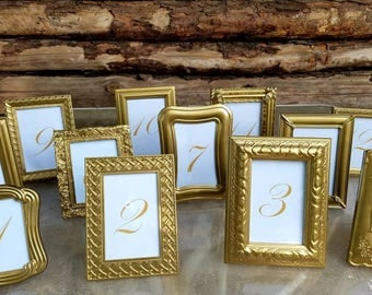 Gold Table Numbers,Table Numbers,Framed Table Numbers,WeddingTable Numbers,Frames, Wedding,Gold Frames,Reception Centerpiece,Quincenara