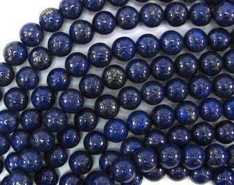 "8mm blue lapis lazuli round beads 15"" strand 31022"