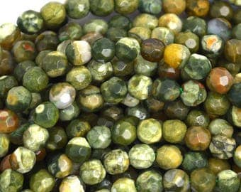 """6mm faceted natural green rhyolite round beads 15.5"""" strand 36609"""