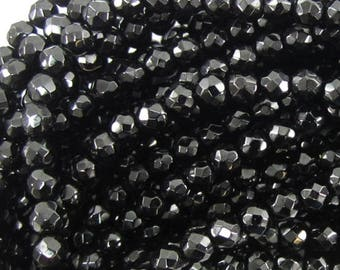 "4mm faceted black onyx round beads 15"" strand 37907"