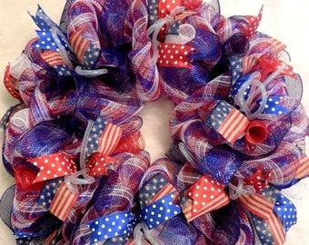 SALE Summer Wreath, Fourth of July Wreath, Fourth Of July, 4th of July Wreath, 4th of July, July 4th Wreath, Fourth of July Decor