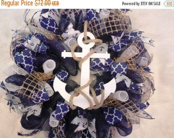 XMAS in JULY SALE-15%off Summer Wreath, Spring Wreath, Anchor Wreath, Nautical Wreath, Navy Wreath, Summer Decor, Spring Decor, Wreath, Naut
