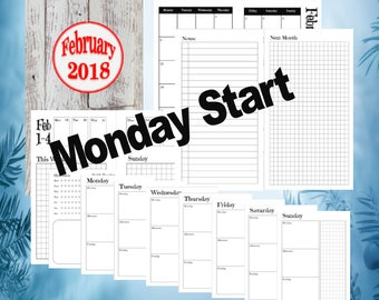 A6 - February, Dutch Door Travelers Notebook Printable Insert, Day on 1 page, Monday start