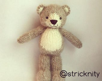 Knitted teddy bear for baby, newborn photo props