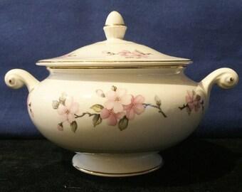 Vintage Homer Laughlin Nautilus Egg Shell Apple Blossom Sugar Bowl with Lid (PL)