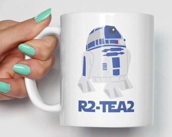 R2D2 R2-Tea2 Mug   Gift For Him Her   Funny Movie Birthday Christmas   Star Wars Movie Themed Fan Art Mugs   R2D2 Droid CP3-O Yoda Mugs